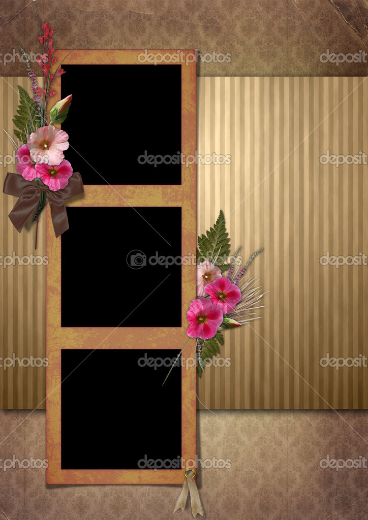 Vintage Photo Album. The frame is decorated with a bouquet of flowers hollyhocks — Stock Photo #3601480