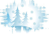 Firs and snowflakes — Stock Photo