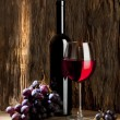 Still life with wine and glass — Stockfoto