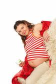 беременная женщина улыбается — Стоковое фото