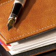 Agenda and fountain pen - Stock Photo