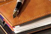 Agenda and fountain pen — Stock Photo