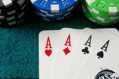 Poker of aces — Stock Photo
