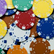 Many colored poker chips — Stock Photo