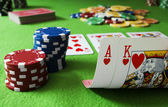 Ace King and Royal flush — Stock Photo