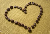 Heart of coffee beans — 图库照片