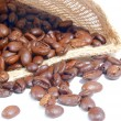Stock Photo: Coffee beans and burlap bag