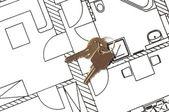 House key on a blueprint — Stock Photo