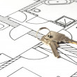 Photo: House key on a blueprint