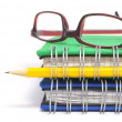 Book, glasses and pen — Stock Photo