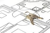 House key on a blueprint — Stock Photo