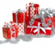 Stock Photo: Christmas red gifts