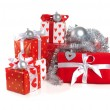 Christmas red gifts - Stock Photo