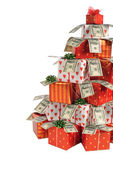 Christmas gifts tree — Stock Photo