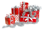 Kırmızı yılbaşı hediyeleri — Stok fotoğraf