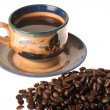 Caffee cup and beans — Stock Photo