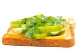 三明治配绿叶 — 图库照片