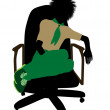Boyscout Sitting In A Chair Illustration Silhoue — Stok fotoğraf