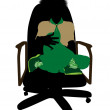 Boyscout Sitting In A Chair Illustration Silhoue - Stock Photo
