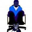 Male Hockey Player Sitting On A Chair Illustrati — Stock Photo