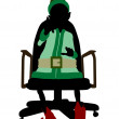 Christmas Elf Sitting In A Chair Silhouette Illu — Stok fotoğraf