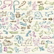Super Mega Doodle Sketch Vector Set - Stock Vector