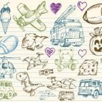 Mega Big Sketch Doodle Vector Set — Stock Vector