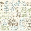 Mega doodle dibujo vector conjunto — Vector de stock