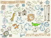 Mega bosquejo doodle vector conjunto — Vector de stock