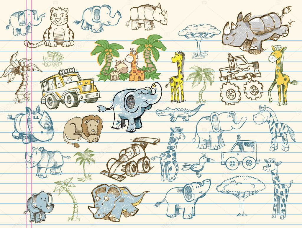 Mega Doodle Sketch Set Vector Illustration Collection — ベクター素材ストック #2718299