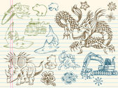 Mega doodle schets vector set — Stockvector