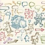Mega Doodle Sketch Vector Set — Stock Vector