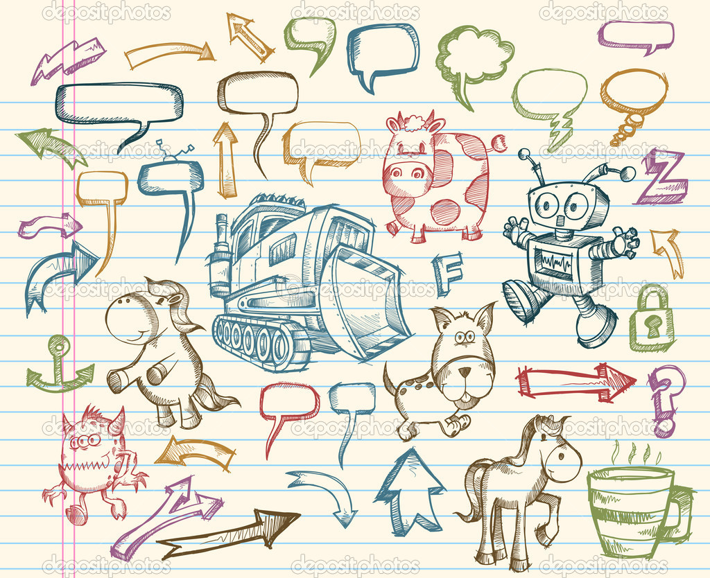 Mega Doodle Sketch Vector Illustration collection Set  Stock Vector #2771135