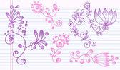 Groovy Doodle Sketch Flower Set — Stock Vector