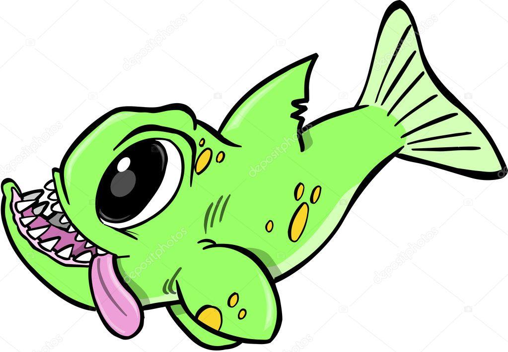 大傻的绿色怪物鱼矢量图– 图库插图