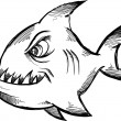 Doodle Sketchy shark Vector Illustration — Stock Vector