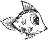 Illustrazione vettoriale di pesce doodle schizzo — Vettoriale Stock