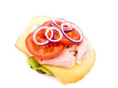 Homemade sandwich on white background — Stock Photo