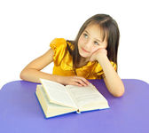 Girl with a book thought — Stock Photo