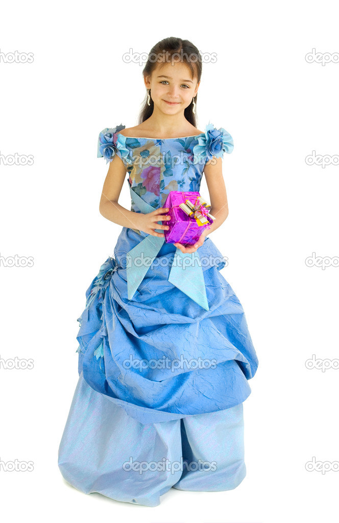 The girl in an elegant dress with a gift  Stock Photo #2957691