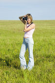 Woman photographing — Stock Photo