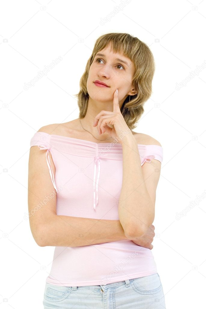 Young woman lost in thought, a white background — Stock Photo #3386402
