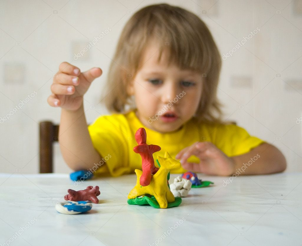 Plasticine hand-made article, small depth of sharpness — Stock Photo #3642536
