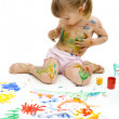 Girl in the paint — Stock Photo