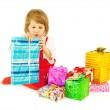 The girl and is a lot of gifts — Stock Photo