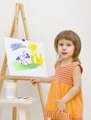 The girl draws — Stock Photo