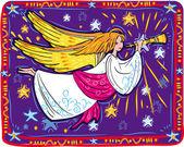 Trompete e anjo de natal — Vetorial Stock