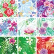 Set of seamless floral pattern — Stok Vektör