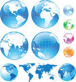 Color glossy globes and map — Vettoriale Stock