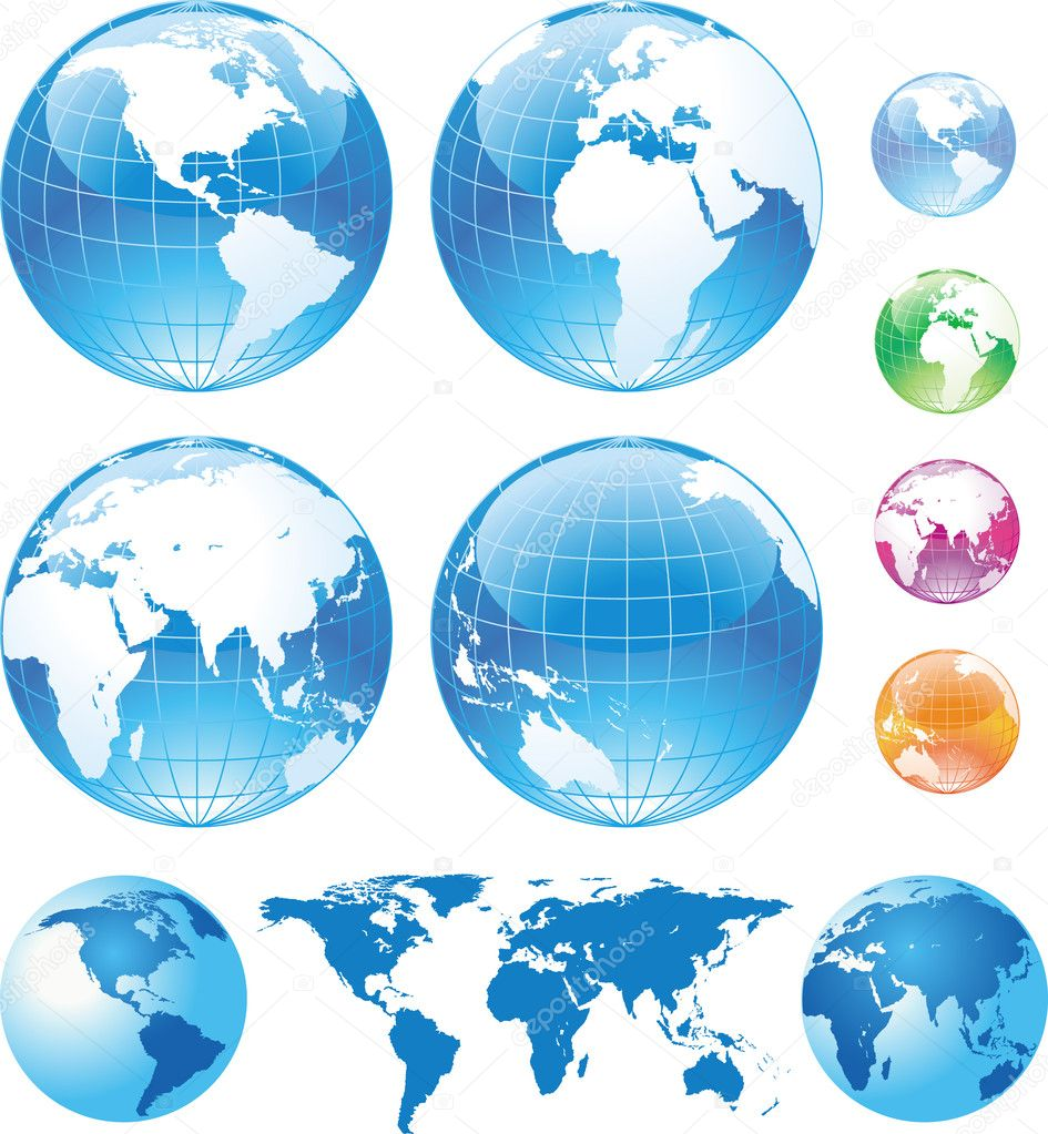 Color glossy globes and map — Stock Vector #3051828